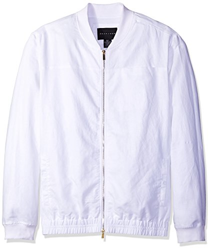 Sean John Men's Big and Tall Two Tone Linen Bomber, Bright White, 2X-Large/Tall Two Tone Linen