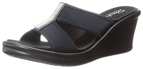 Skechers Cali Women's Rumblers Risk Taker Wedge Sandal,Navy,8.5 M US