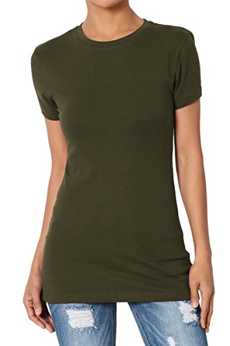 TheMogan Women's Basic Crew Neck Short Sleeve T-Shirts Cotton Tee Olive S ()