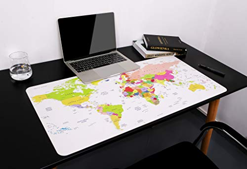 "World Desk Mat, 31.5"" x 15.7"" YSAGi Ultra Thin Waterproof PU Leather Mouse Pad, Ideal for Desk Cover, Computer Keyboard, PC and Laptop - World Map"