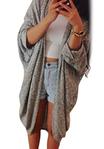 Kize Korean Women Batwing Sleeve Loose Long Cardigan Coat (XL, Gray)