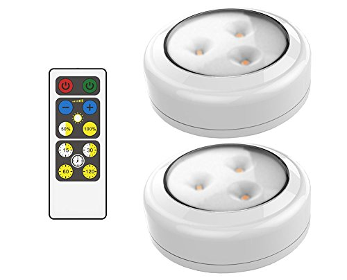 Brilliant Evolution BRRC134 Wireless LED Puck Light 2 Pack With Remote Control - Operates On 3 AA Batteries - Kitchen Under Cabinet Lighting