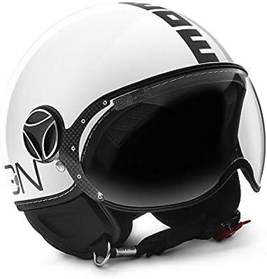 Fighter Classic White Gloss//Black Momo Design Demi-Jet Helmet Size M