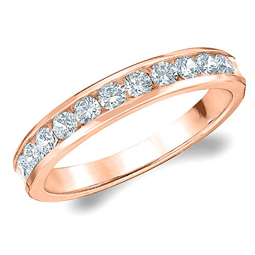 1/2 CT Classic Channel-Set Cultured Diamond Ring in 10K Rose Gold, Sparkling in E-F Color and VS Clarity- Finger Size 5.5 ()