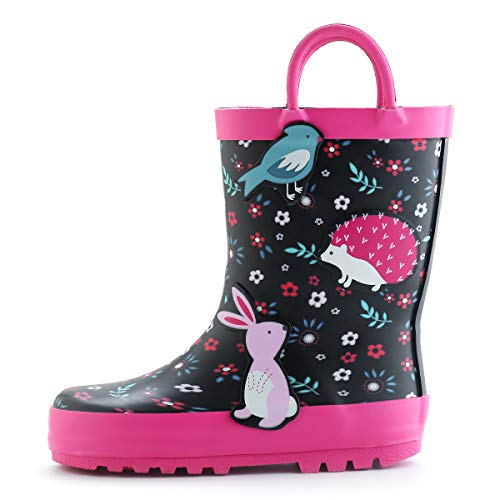 (KomForme Kids Girl Rain Boots, Waterproof Rubber Printed with Handles in Various Prints and Different Sizes)