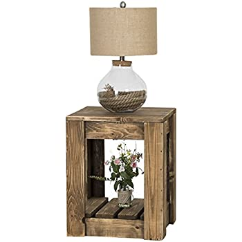 Knotty Cedar End Table With Rustic Dark Walnut Wood Stain By Del Hutson  Designs (24H