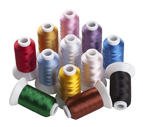 Sinbel Polyester Embroidery Thread 12 Colors 550 Yards Per Spool For Brother Babylock Janome Singer Pfaff Husqvaran Bernina Machines ()