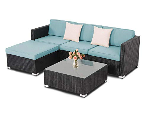 Incbruce 5Pcs Outdoor Patio Furniture Sets, Wicker Rattan Sectional Sofa with Blue Cushions and Beige Pillows,Black and Sky Blue