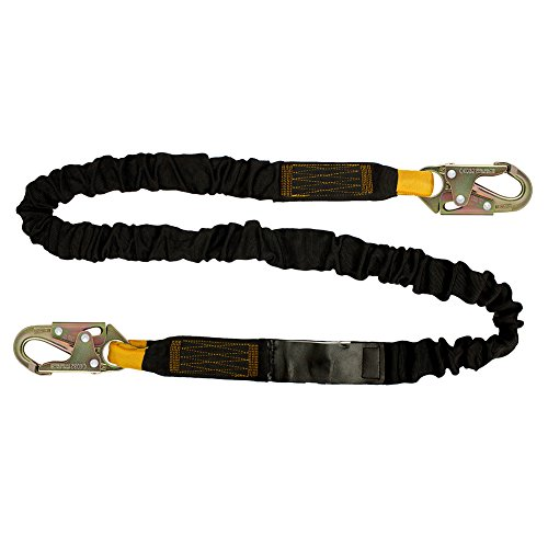Fusion Climb 6ft 72''x2'' Internal Shock Absorbing Fall Protection Safety Lanyard with HS Steel Snap Hooks 23kN Black by Fusion Climb