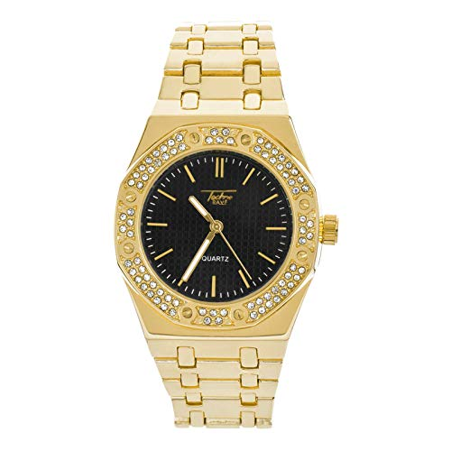 Men's Gold Plated Metal Band Bling Iced Out Hip Hop Watches WM 8864 GBK