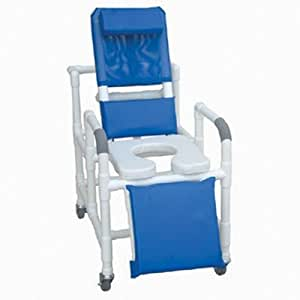 MJM PVC 193-SSDE Medical Reclining Rolling Shower Chair
