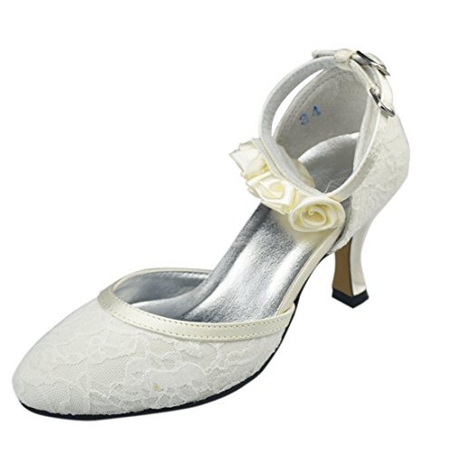 Heel Heel Mid Lace Ivory GYAYL179 6cm Toe Flowers Strappy Minitoo Womens Wedding Shoes Bridal Party Pumps Round Evening TBtwUUxqE