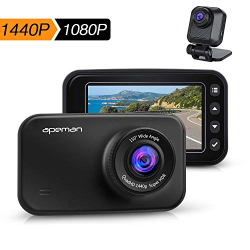 APEMAN Dash Cam FHD 1440p & 1080p Dual Dash Camera for Cars DVR with IR Sensor, 6G Lens, G-Sensor, WDR, Super Night Vision, Loop Recording, Parking Monitoring