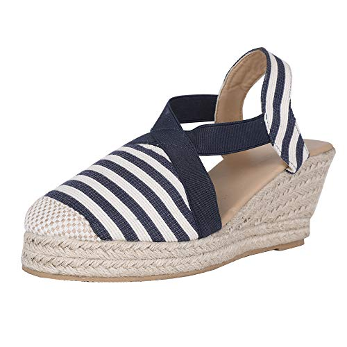 FISACE Womens Cap Toe Elastic Band Criss Cross Platform Wedge Sandal Slingback Strappy Espadrilles - Strappy Wedge Slingback