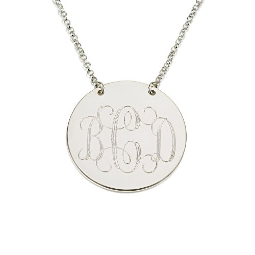 (Monogram Necklace Sterling Silver Personalized Name Necklace Monogram Disc (22 Inches))