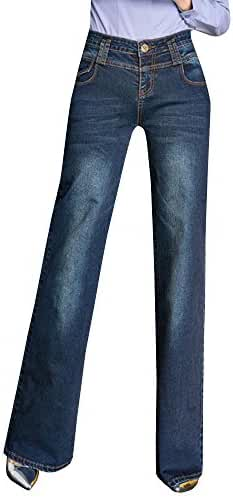 Ermonn Women's Office Lady Wear To Work Straight Wide Leg Bell-bottom Jeans Denim Pants