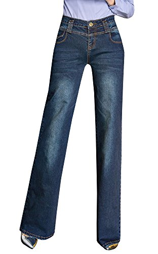 Ermonn Women's Office Lady Wear To Work Straight Boot Cut Jeans Denim Pants