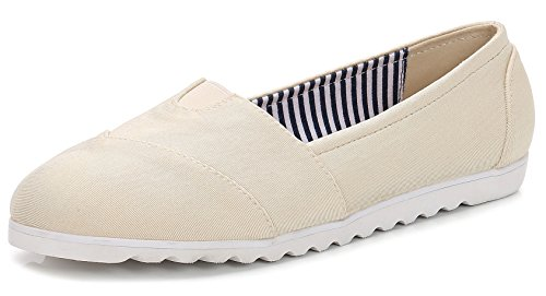 ComeShun Womens Shoes Beige Classic Slip on Comfort Sneaker Casual Flats Size 5 from ComeShun