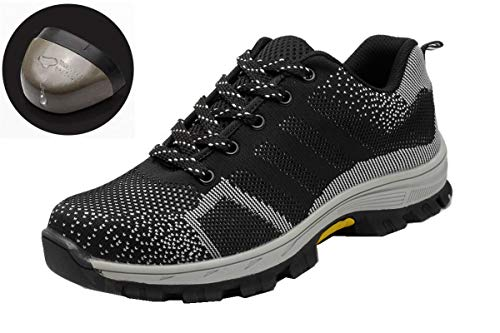 Beeagle Mens Womens Unisex Steel Toe Work Shoes Industrial Construction Puncture Proof Safety Shoes Gray 39 by Beeagle