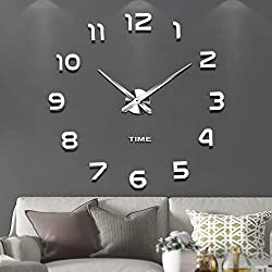 Vangold Frameless DIY Wall Clock, 2-Year Warranty 3D Mirror Wall Clock Large Mute Wall Stickers for Living Room Bedroom Home Decorations (Silver-42)