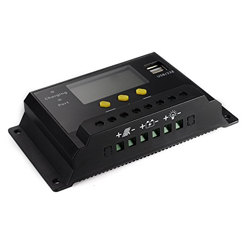 VicTsing LCD 20A PWM Solar Panel Regulator Charge Controller 12V/24V 240W/480W with Dual USB