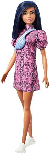 Barbie Fashionistas Doll with Blue Hair Wearing Pink & Black Dress, White Sneakers & Bag, Toy for Kids