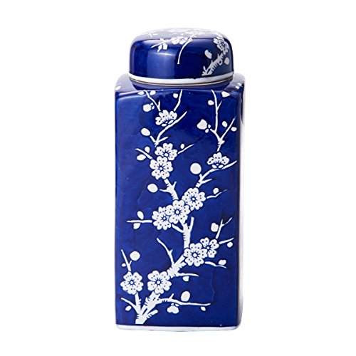 Bombay Cherry Blossom Ceramic Jar with Lid, 4-Inch-by-9.5-Inch, Blue/White