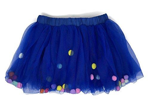 - Rush Dance Ballerina Girls Dress-up Pom Pom Puff Balls Costume Recital Tutu (S (0-2 Years Old), Royal Blue)