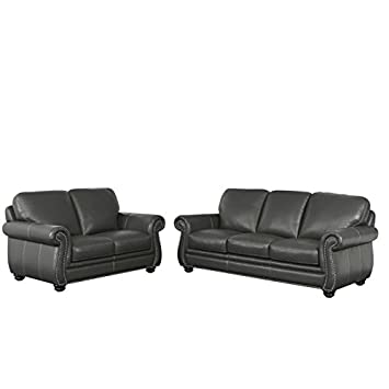 Amazon.com: Abbyson Living Austin 2 Piece Leather Sofa Set in Gray ...