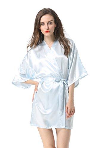 (Women's Satin Plain Short Kimono Robe Bathrobe, X-Large, Light)