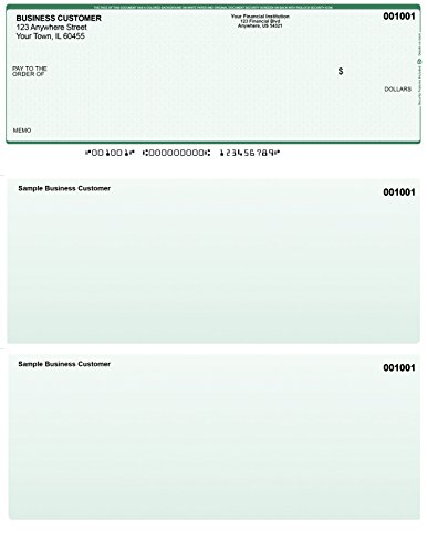 Green Safety Computer Checks - 250 Printed Laser Computer Voucher Checks - Compatible for - Green 250