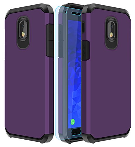 Galaxy J7 2018 Case,Galaxy J7 Aero/J7 Star/J7 Top/J7 Aura/J7 Crown/J7 Refine Case with HD Screen Protector Slinco Dual Layer Shock Proof Protective Rugged Case for Samsung Galaxy J7 2018 (Purple)