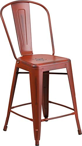 24'' High Industrial Style Distressed Kelly Red Metal Counter Height Restaurant Bar Stool