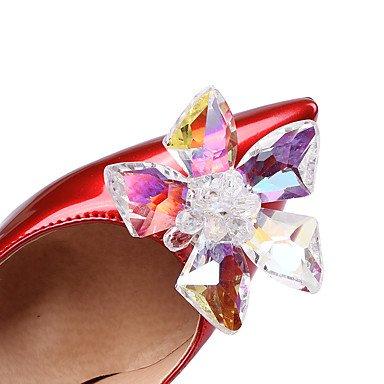 Talones de las mujeres Primavera Verano Otoño Invierno Club de los zapatos de patente de cuero de la boda vestido de fiesta y noche Chunky talón de cristal Peach