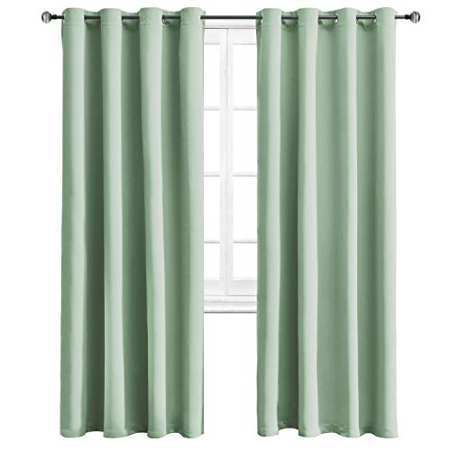 WONTEX Blackout Curtains Room Darkening Thermal Insulated with Grommet Curtains for Living Room, 52 x 84 inch, Light Green, 2 Panels ()