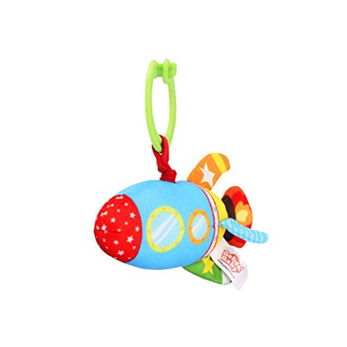 Boddenly Cute Bebek Baby Plush Rattles Handle Submarine/Car/Ship/Rocket/Airplane Pulling Play Toys Baby Bed Stroller Hanging for Baby Kid Gift (D)