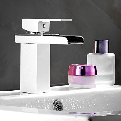 Auralum® Mitigeur Cascade Lavabo Robinet Lave-mains Eau Chaude et Froide en Laiton Finition Peinture Blanche pour Salle de bain