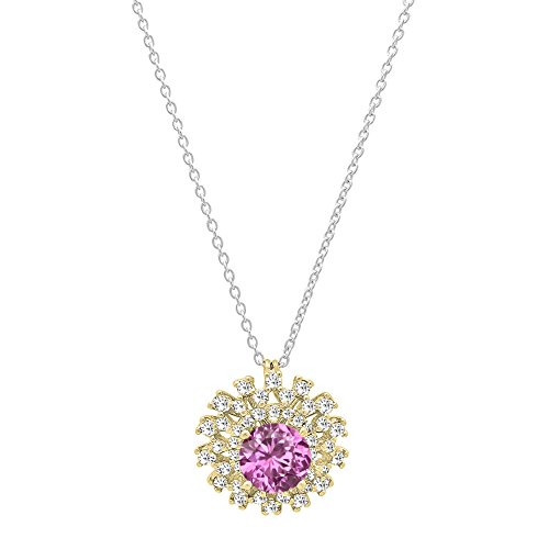 Dazzlingrock Collection 14K 5.5 MM Round Cut Lab Created Pink Sapphire & Diamond Ladies Cluster Pendant, Yellow Gold