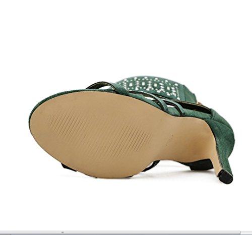 Discoteca Verde Punta Con Roma Sandalias Sexy Fina Para Rhinestone Mujer Zapatos Liangxie Altos Nueva Botas De Tacón Verano Mujerxiaoqi Alto Tacones Abierta BZAqn1nw5x
