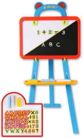 ToyThrill Kids Chalkboard Whiteboard Easel - 3 in 1 Reversible Chalk, Magnetic Dry Erase and Paint Board with Chalk, Eraser, and 84 Magnet Numbers, Letters, and Math Symbols
