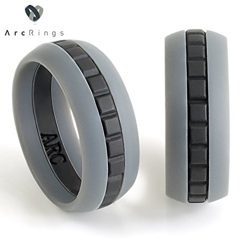 Silicone Wedding Ring for Men - by ArcRings - Comfortable, Breathable, Athletic, Unique Design, Thin Wedding Band for Him - Perfect for the Everyday Man - Gray Size 9 -