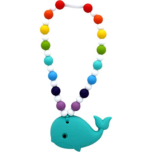 Beaded Squeeze Toy (Nummy Beads Rainbow Whale Teether Toy Attaches To Baby Carrier, Car Seat, High Chair, Stroller or Diaper Bag)