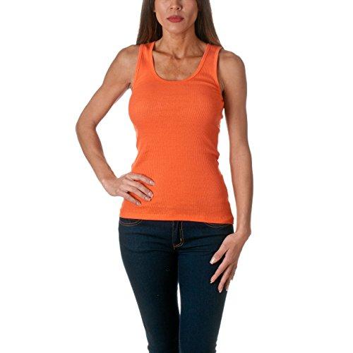 Sofra Women's Tank Top Cotton Ribbed Orange (Orange Ribbed)