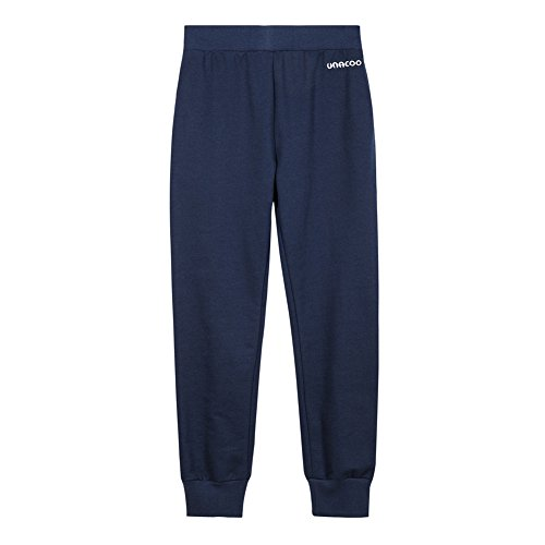 UNACOO Girls Soft French Terry Pull-on Jogger Pants with 2 Pockets (Navy, XL(11-12T)) by UNACOO
