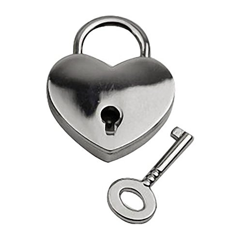 (SM SunniMix Solid Color Metal Padlock (Lock & Key) for Jewelry Case, Diary, Toy Box - Heart Shape)