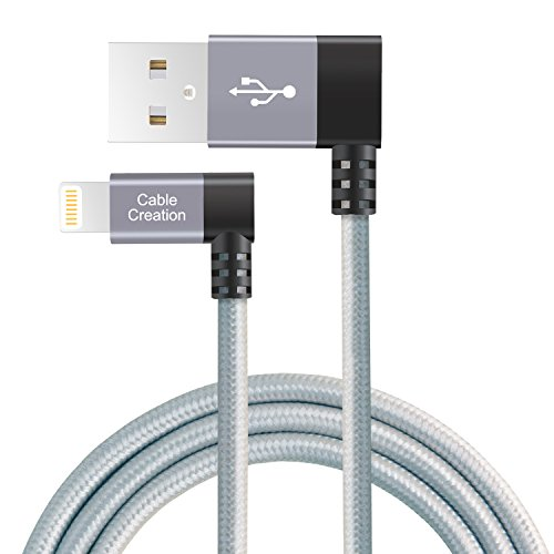 CableCreation Left Angle Lightning to USB Cable, 4 Feet MFi Certified Data Sync Charge Cable Compatible with iPhone X, 8, 8 Plus, 7, 7 Plus, 6S, 6S Plus, iPad, Space Gray, 1.2 M