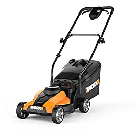 """WORX WG775 24V 14"""" Cordless Electric Lawn Mower 2 Cuts up to 6,000 square feet with a single charge Easily manageable mower - only 33 pounds 3-in-1 functionality: mulches, rear-discharges and bags"""
