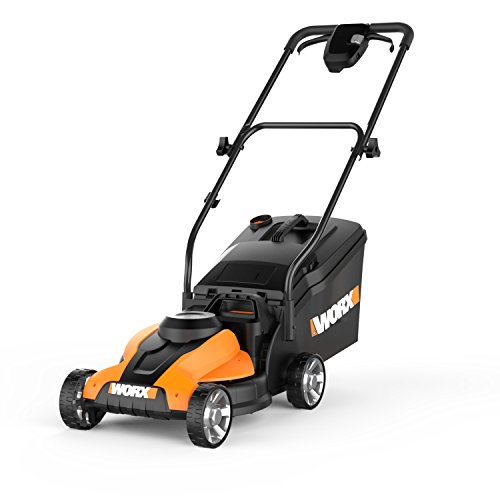 WORX 14-Inch 24-Volt Cordless Lawn Mower with Easy-Start Feature, Removable Battery, and Grass Collection Bag – WG775 by Worx