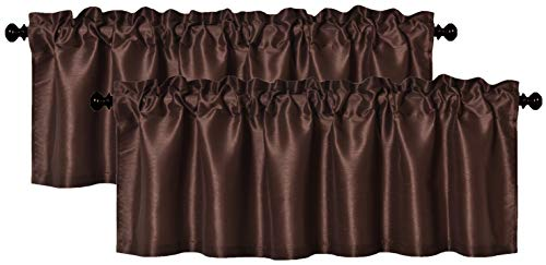 Aiking Home (Pack of 2) Solid Faux Silk Window Valance, 56 by 16 Inches, Brown