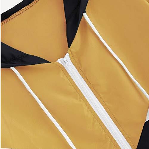 Giacche cappuccio Cappotti Abbigliamento ️euzeo a con Felpe Sueter donna sportivo Abbigliamento manica Tute Giacca da B Cardigan sportivo vento Inverno lunga giallo BOrSxqTBw
